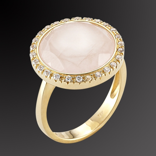 Gold ring K-14 with semiprecious stone and zircon