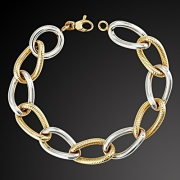 Bracelet from yellow and white gold K-14