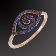 Ring K-18 pink gold with blue diamonts