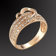 Ring K-18 pink gold with diamonts