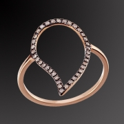Ring K-18 pink gold with brown diamonts