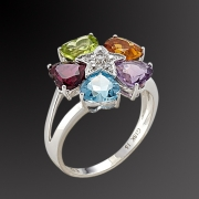 Ring in pink gold K-18 with diamonds and semiprecious stones