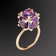 Ring in pink gold plated 925 sterling silver with purple stone