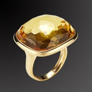 Gold plated silver 925 ring with yellow stone