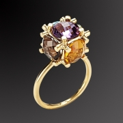 Ring in pink gold plated 925 sterling silver with colorful stones